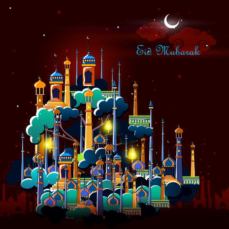 矢量的清真寺建筑卡通背景
