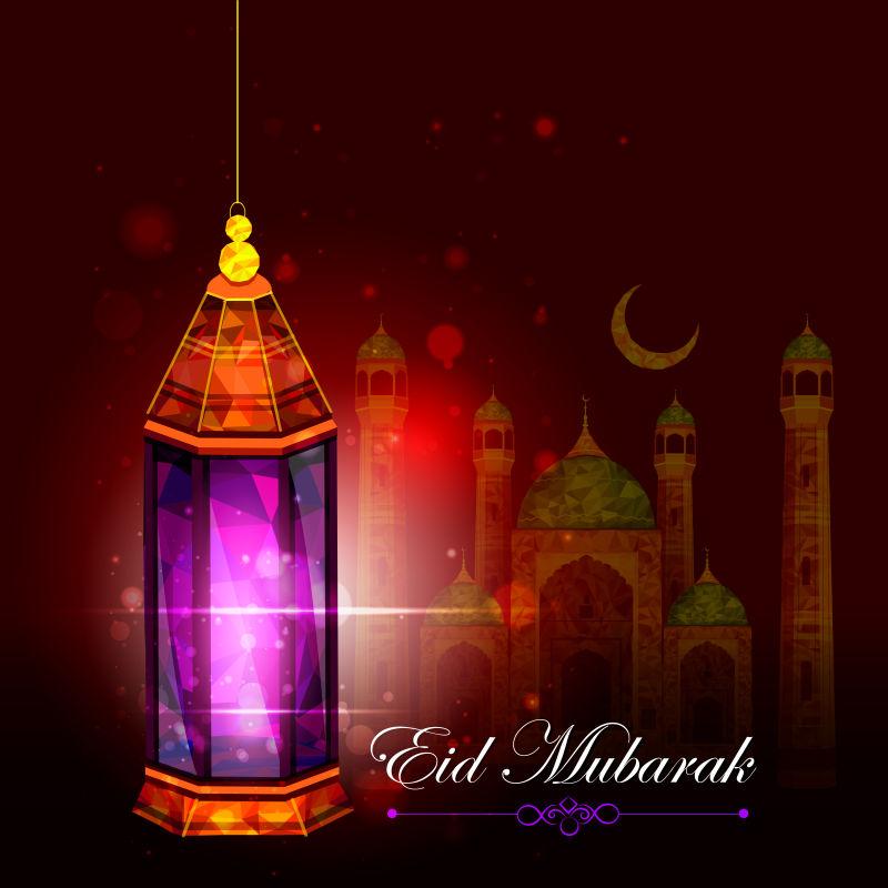 紫色的民族风格照明灯矢量插图