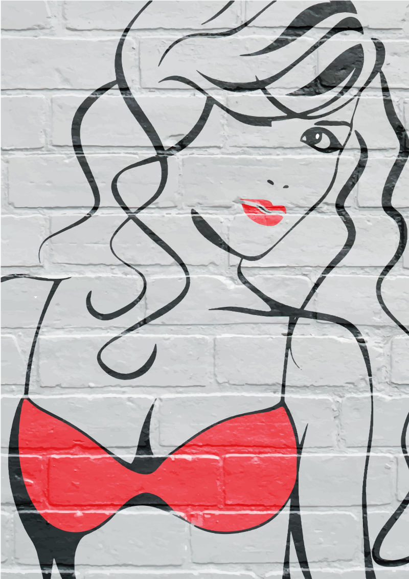 墙面上的卷发女孩矢量插图
