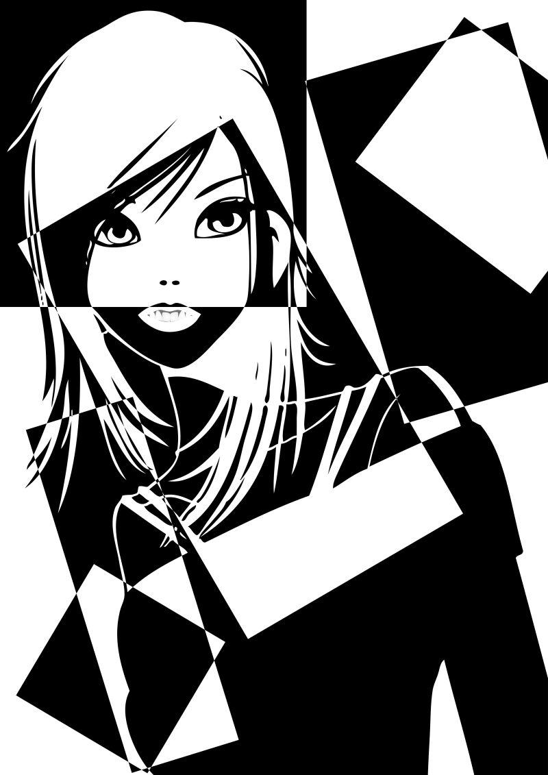 拼接图案的女孩肖像矢量插图