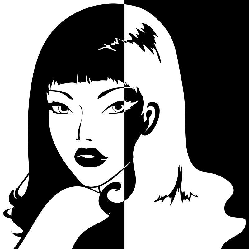 抽象的女人肖像矢量插图