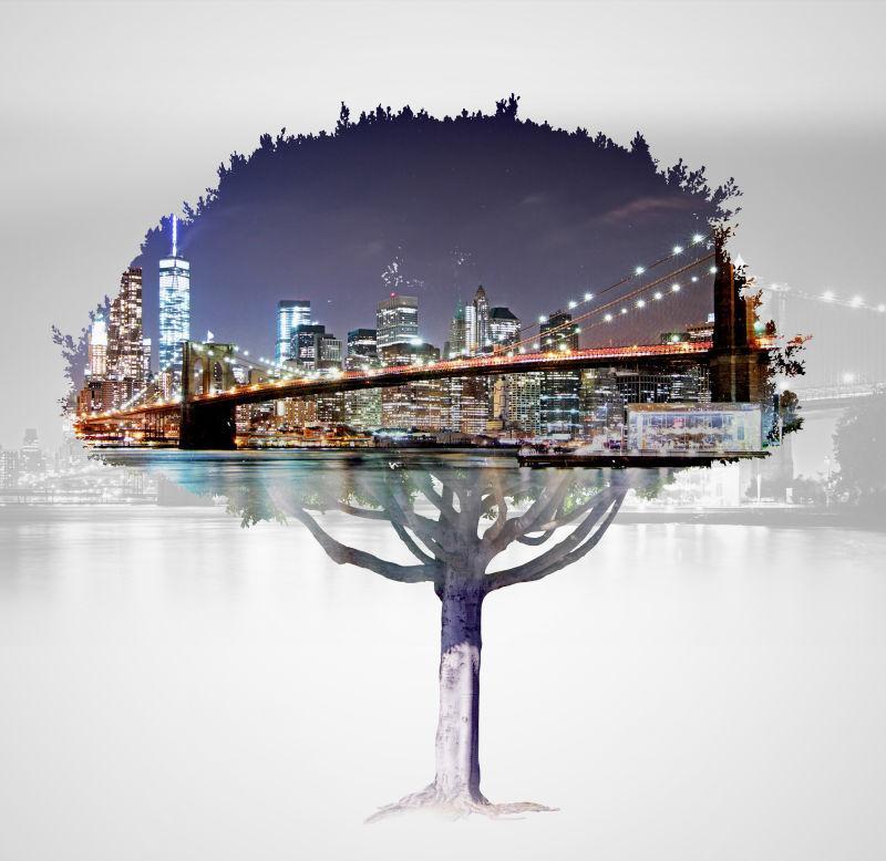 城市夜景与树木的双重曝光