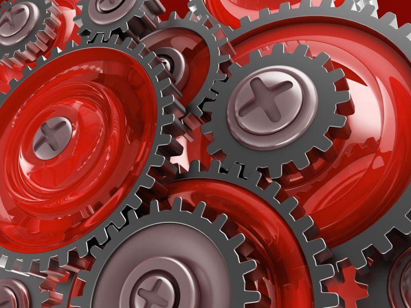 运行中的红色金属齿轮