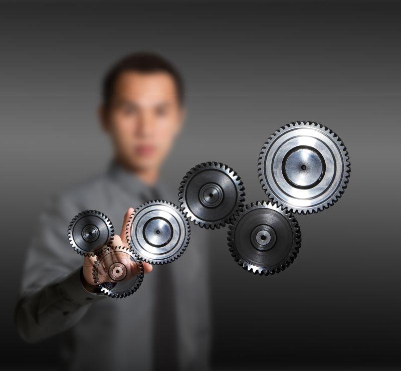 商务团队齿轮运行概念图