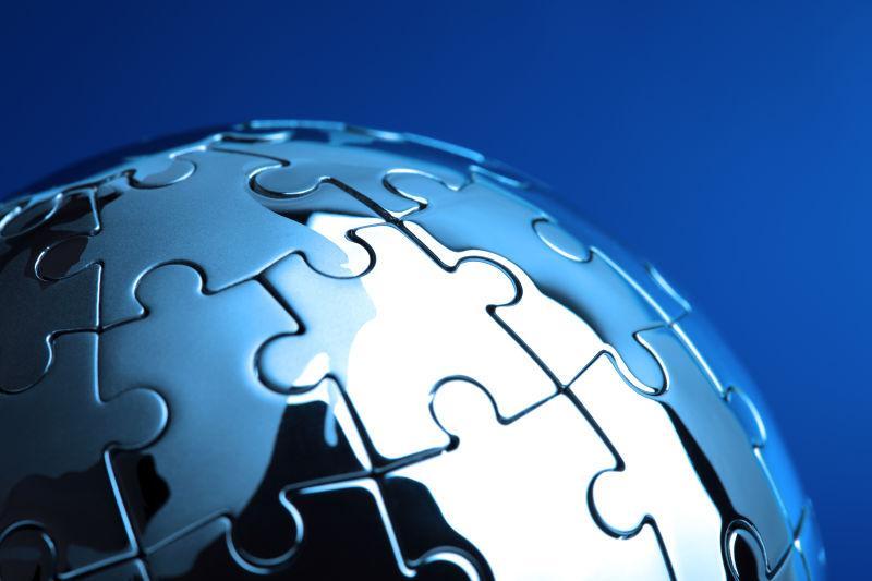 蓝色背景下的商务解决方案和策略个性化的拼图