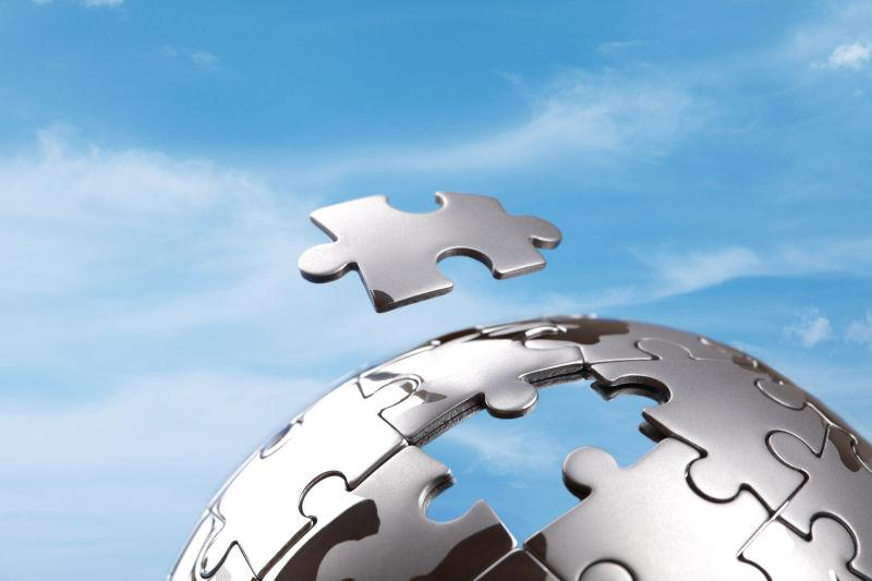 全球商业解决方案和策略的最后一块概念个性化的拼图