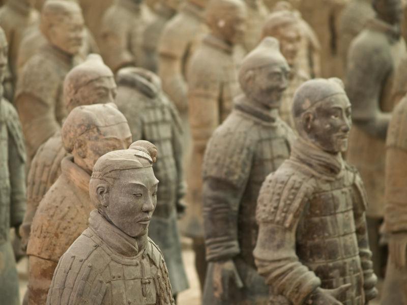 中国兵马俑近处摄影