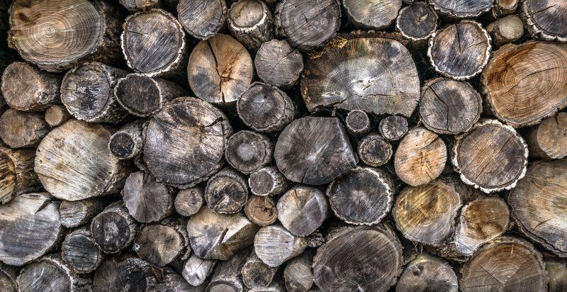 堆在一起的木头