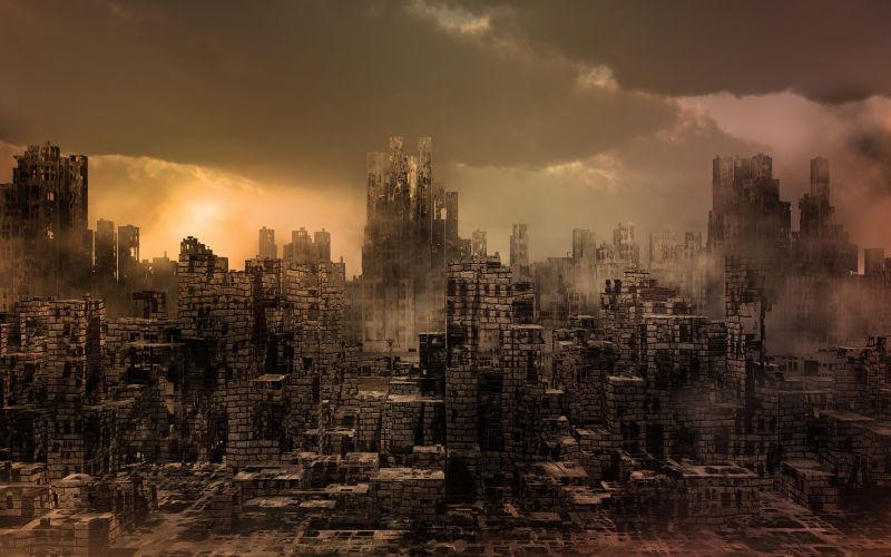 云雾下包围的房屋倒塌的城市