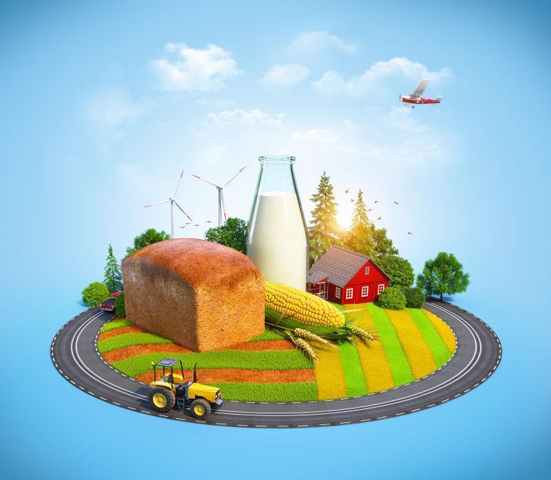 在田野上种的面包食物和房子