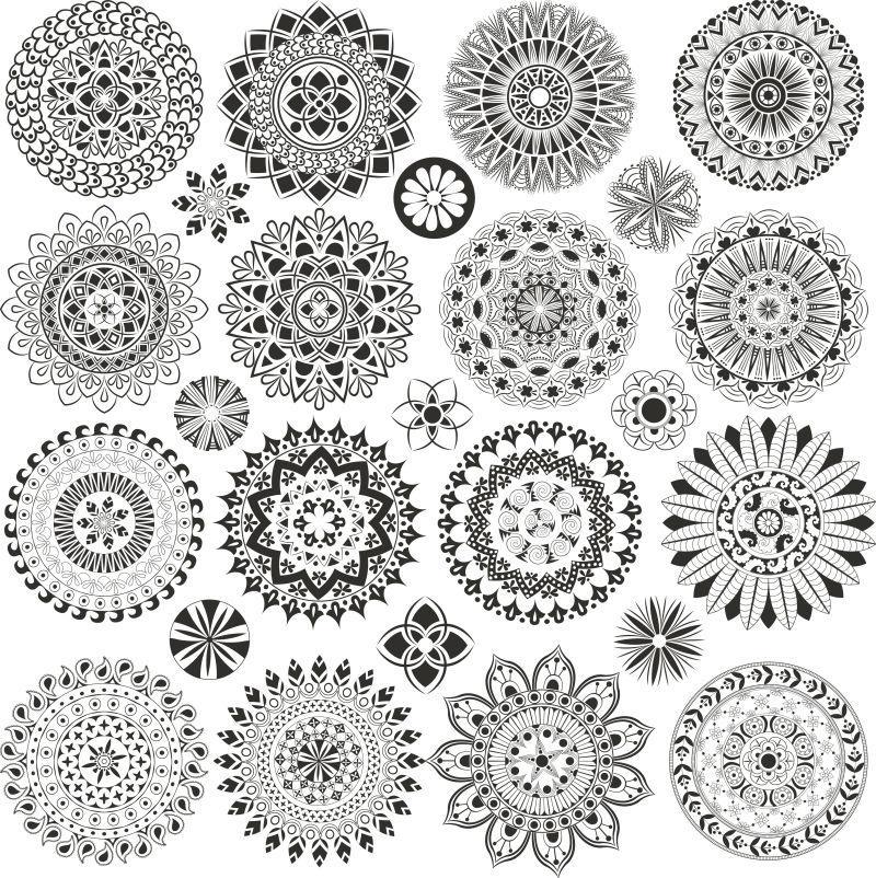 白色背景上的各种曼荼罗图案