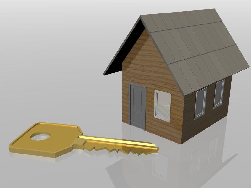 三维房屋模型和钥匙