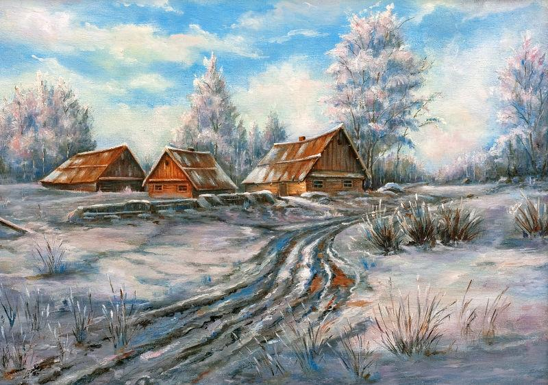 画布上的冬季乡村景观油画
