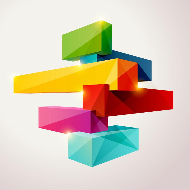 立体彩色图案的矢量背景
