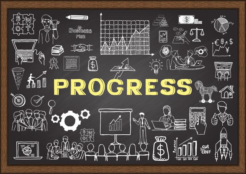 创意矢量黑板上的商业涂鸦风格图标