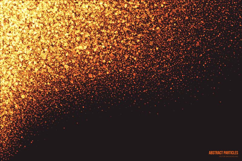 抽象的金色发光粒子矢量背景