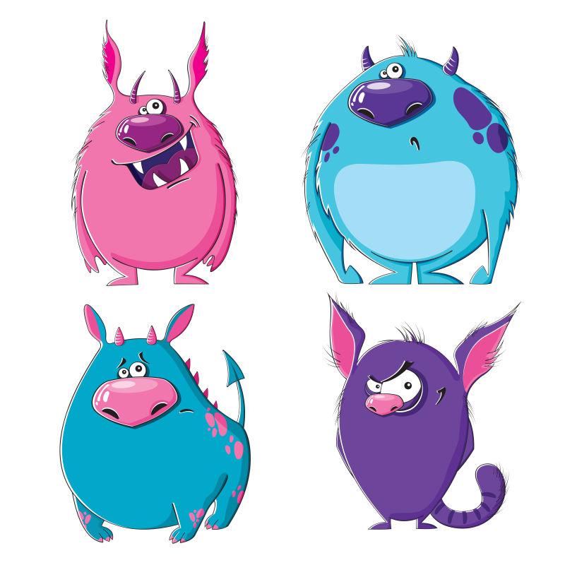 矢量卡通怪诞的怪兽插图