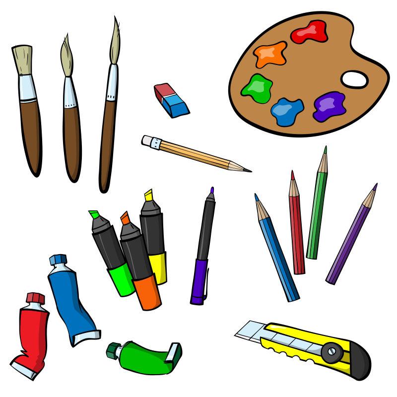 创意矢量卡通不同种类的画笔设计元素