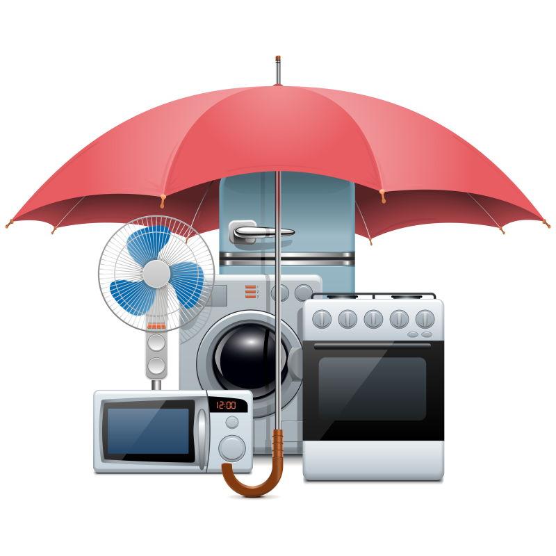雨伞下的家用电器矢量插图