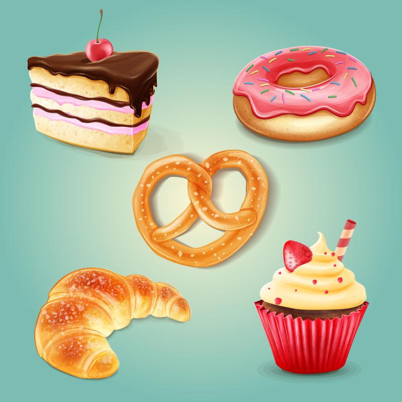 创意矢量卡通甜点蛋糕插图
