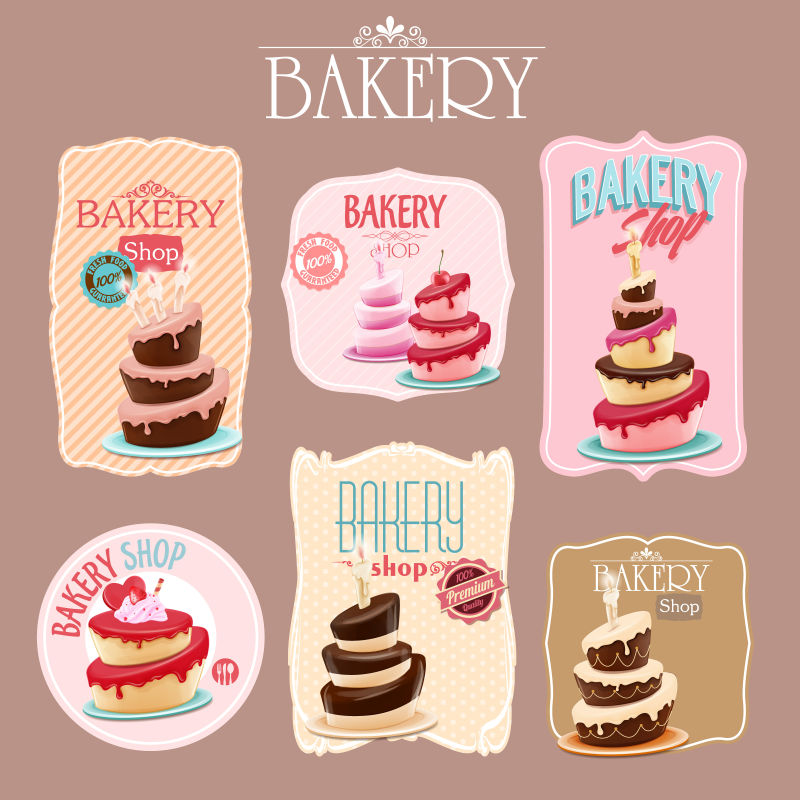 创意矢量面包店的美味甜品插图