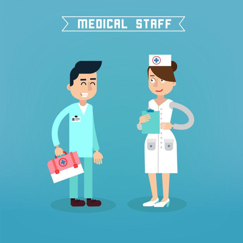 矢量的护士和医生矢量插图