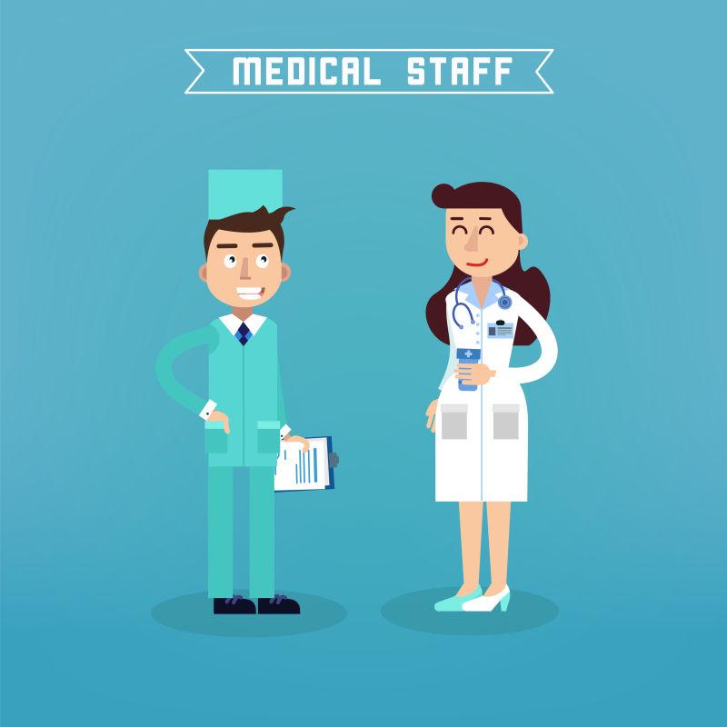 蓝色背景下的医务人员矢量插图