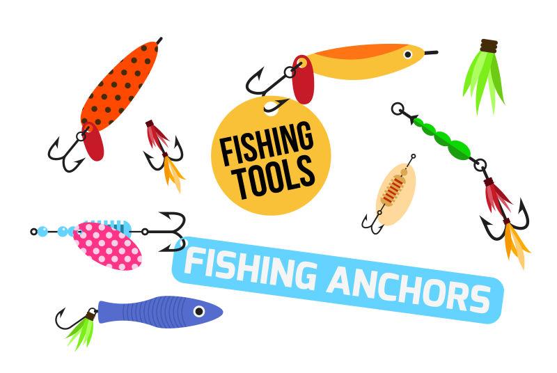 不同款式的鱼钩矢量插图