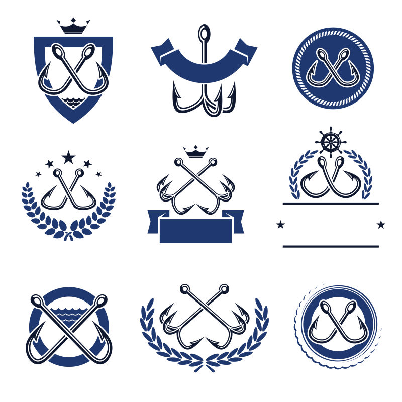 钓鱼标志矢量设计