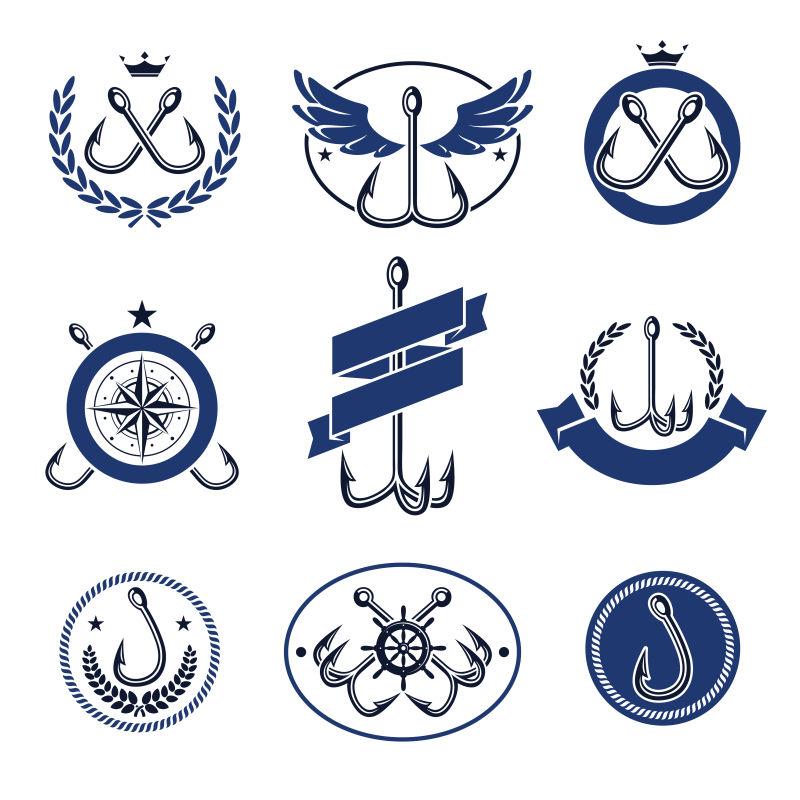 矢量的蓝色钓鱼标志设计