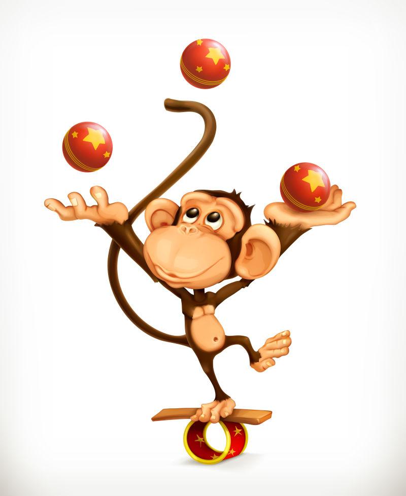 创意矢量卡通猴子杂技演员
