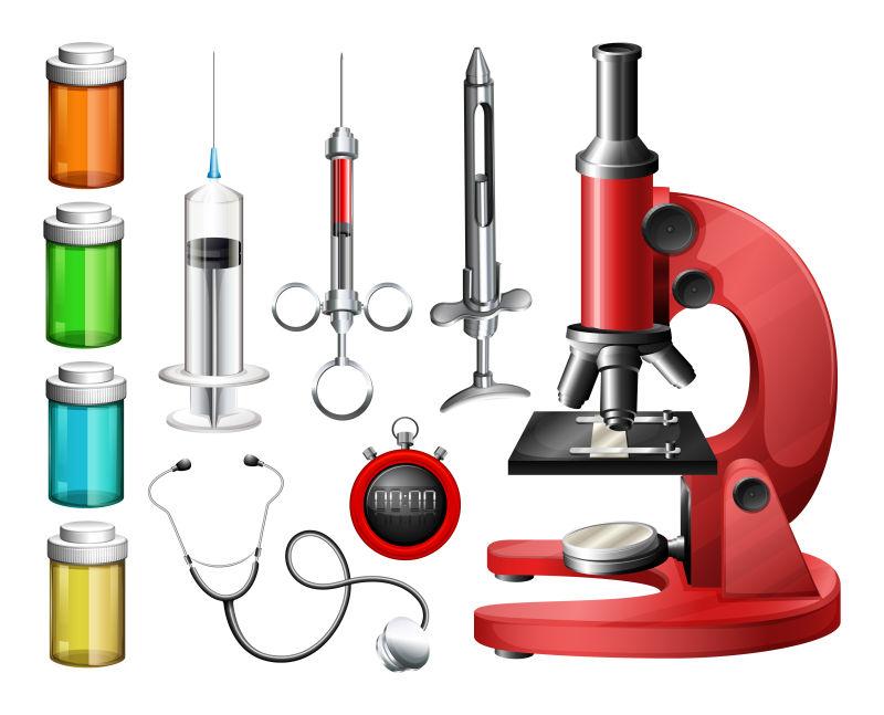 创意矢量医疗设备和容器