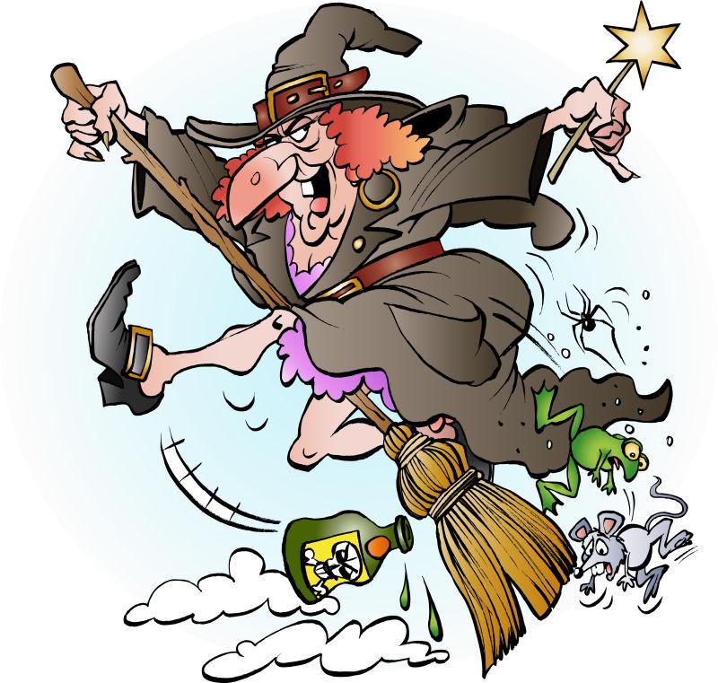 创意矢量卡通骑扫帚的女巫