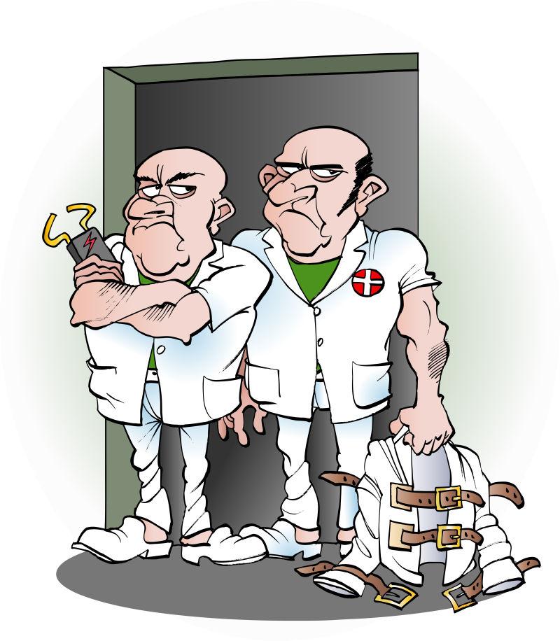 矢量卡通精神病院的护理插图
