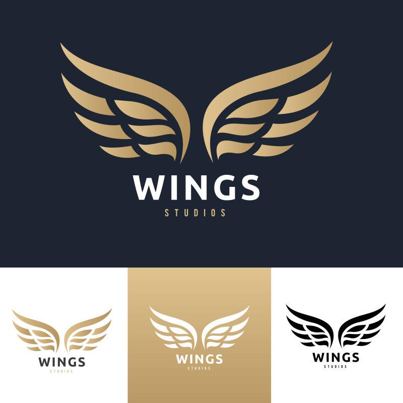 矢量展开的翅膀标志设计