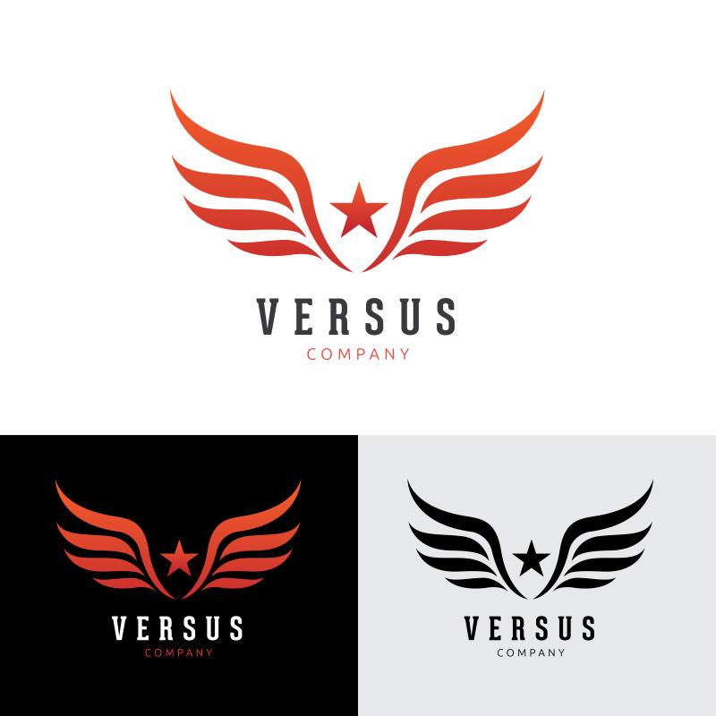 创意矢量有星星翅膀的标志设计