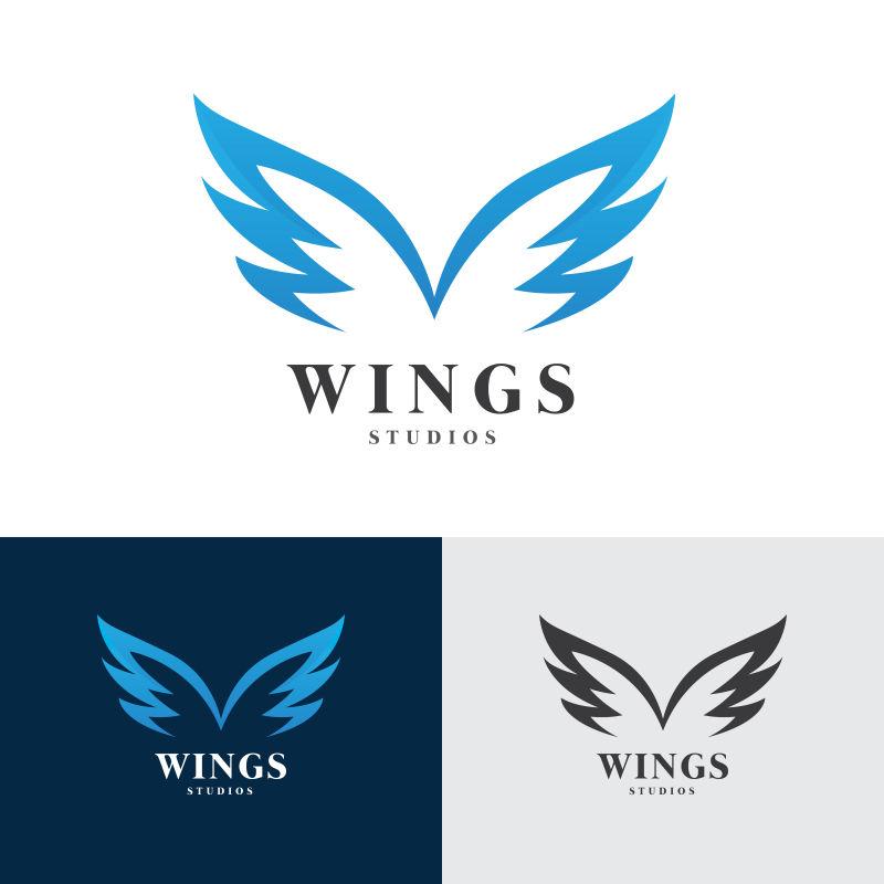 矢量蓝色翅膀标志设计