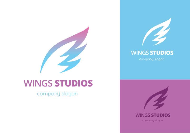 矢量梦幻的翅膀标志设计