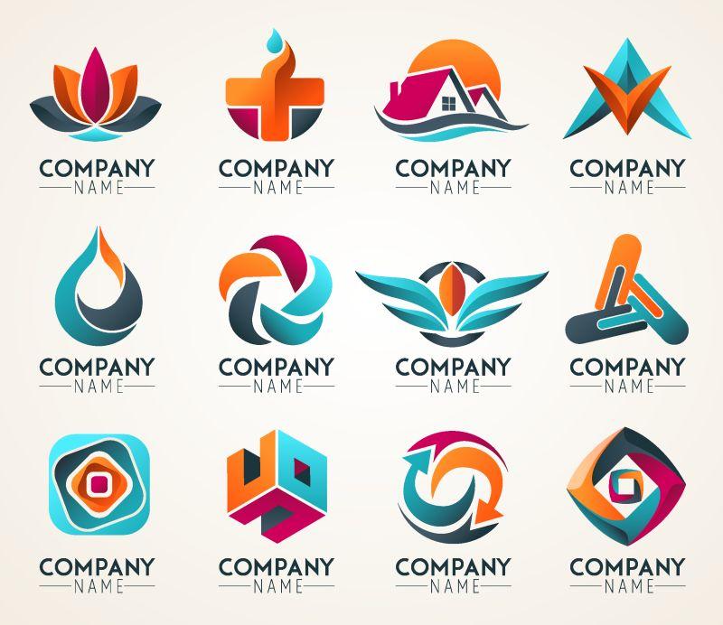 创意矢量彩色三维标志设计