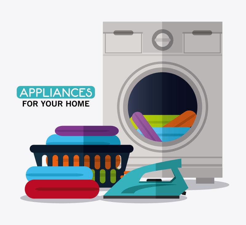 矢量的洗衣机和布熨斗插图