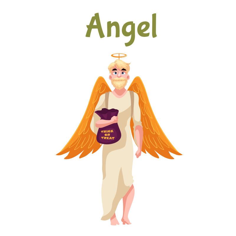 矢量卡通万圣节的天使