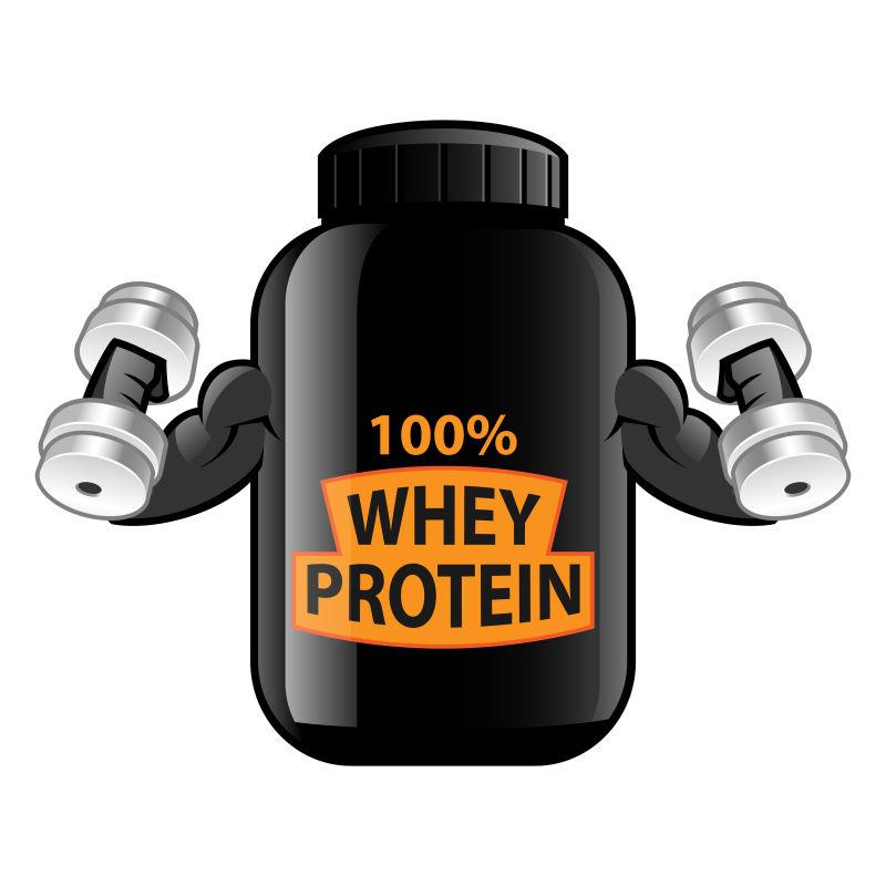 创意矢量黑色卡通蛋白质瓶子