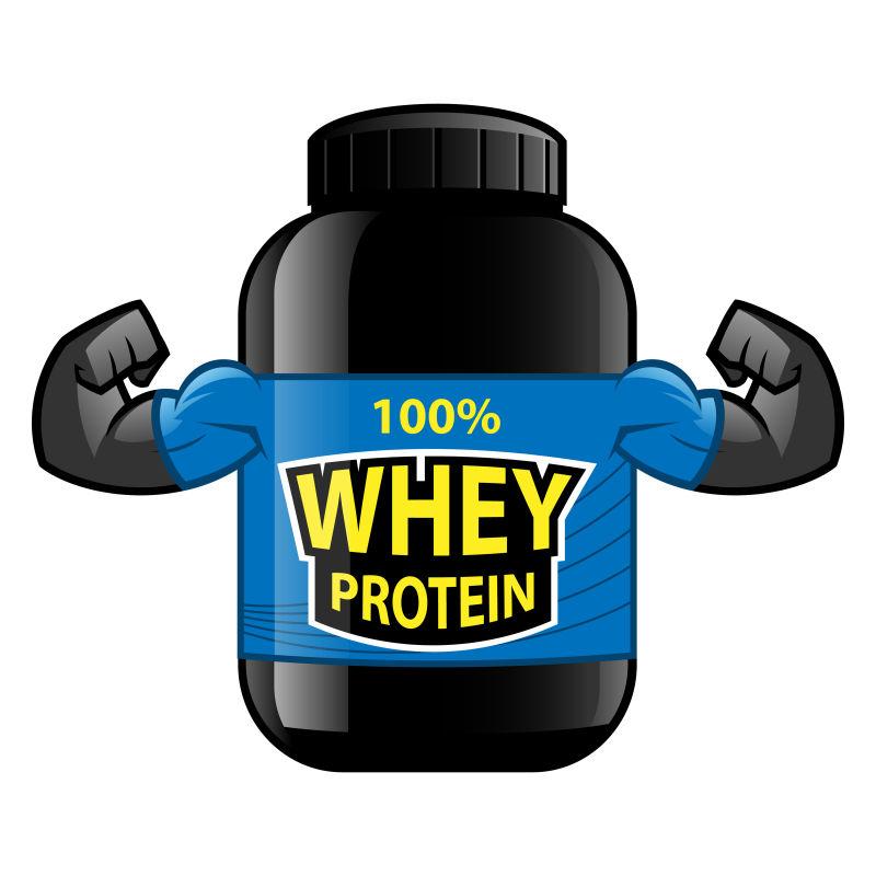 卡通矢量百分百蛋白质瓶子
