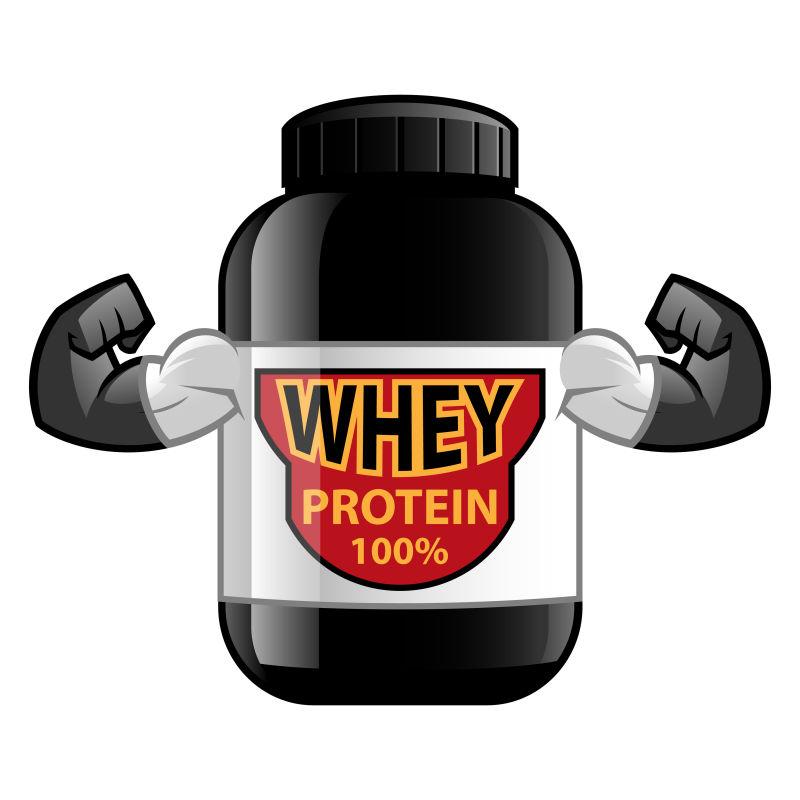 创意矢量卡通百分百蛋白质的瓶子