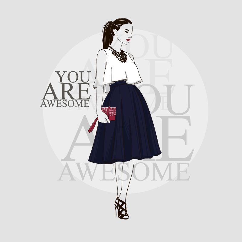 打扮时尚的女模特矢量插图