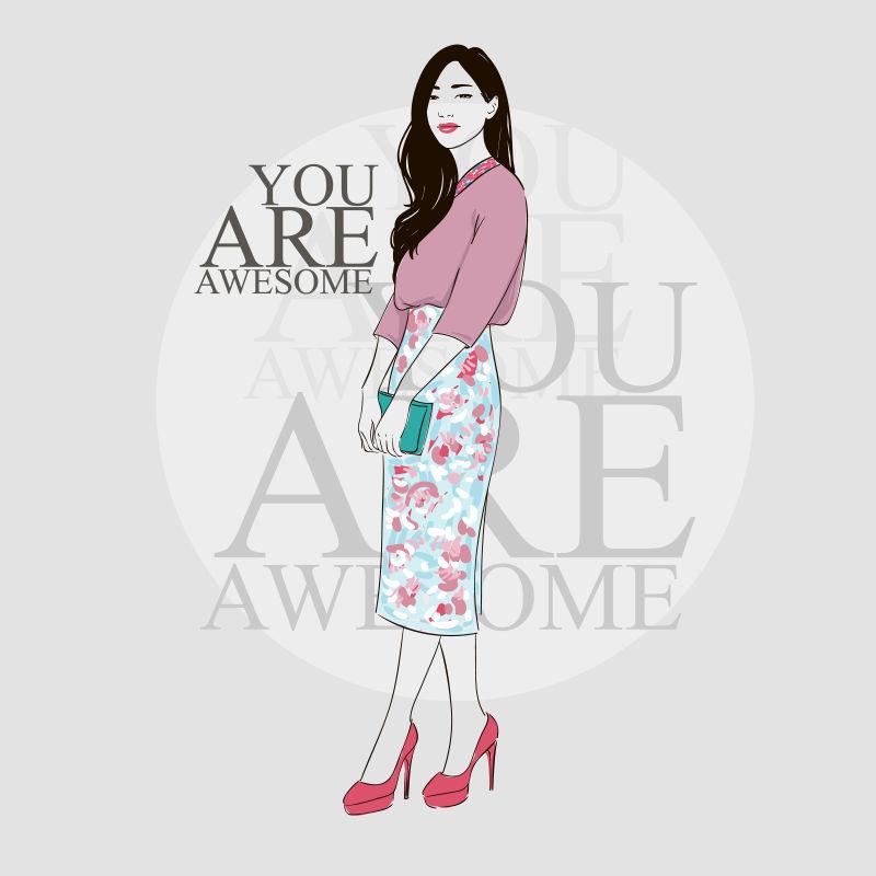 穿着粉色裙子的年轻女孩矢量插图