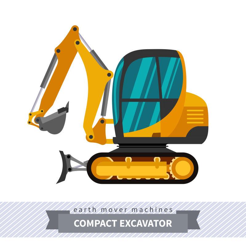 创意矢量小型挖掘机的平面设计