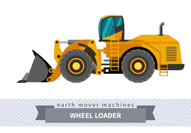 创意矢量土方轮式装载机