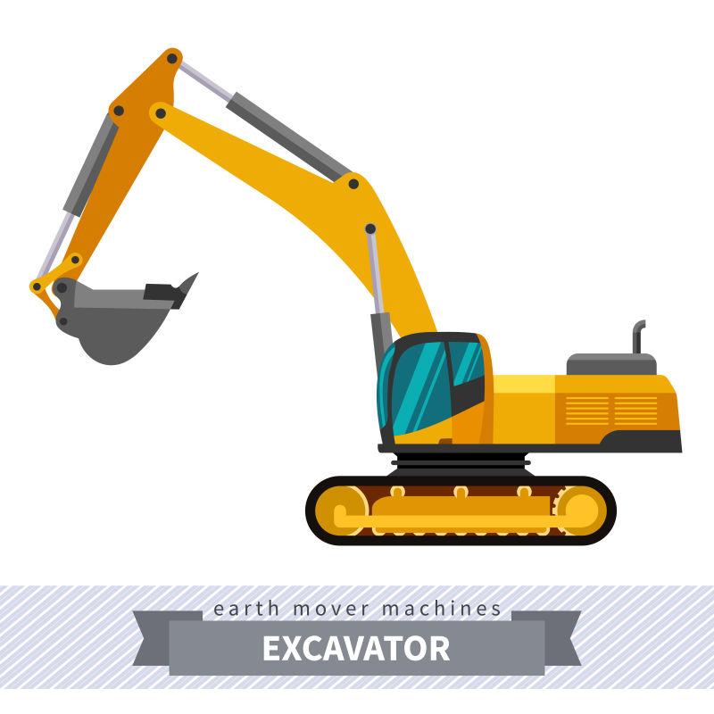 创意矢量重装挖掘机插图
