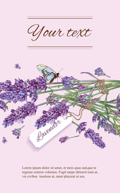 创意紫色薰衣草元素的矢量横幅设计